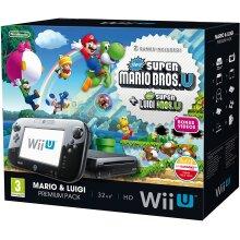 Nintendo Wii U 32GB Black Console + New Super Mario & Luigi - Used