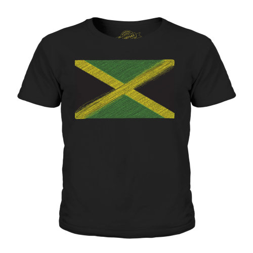 (Black, 7-8 Years) Candymix - Jamaica Scribble Flag - Unisex Kid's T-Shirt