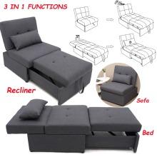 Modern Sofa Bed Sleeper Light Grey Linen Folding Sofa Chair Recliner Couch Seat