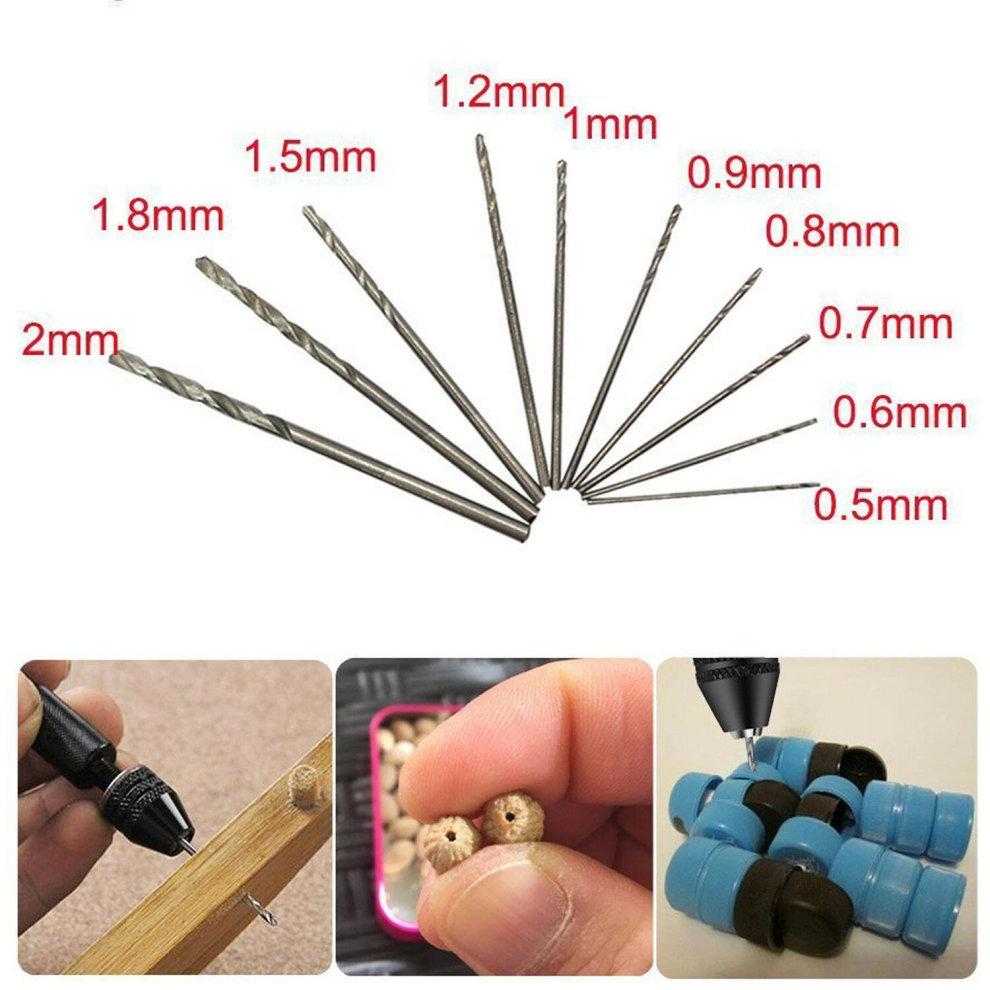 10 Twist Drill Bit 0.6-2.0mm ACENIX® Mini Micro Hand Drill Tools Rotary Tools
