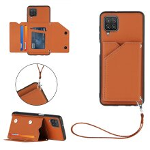 Case with strap for Samsung Galaxy A12 Brown