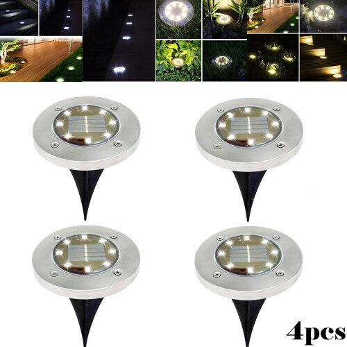 4X Solar Power Path Lamp Ground Lights Warm Outdoor Lamp Light