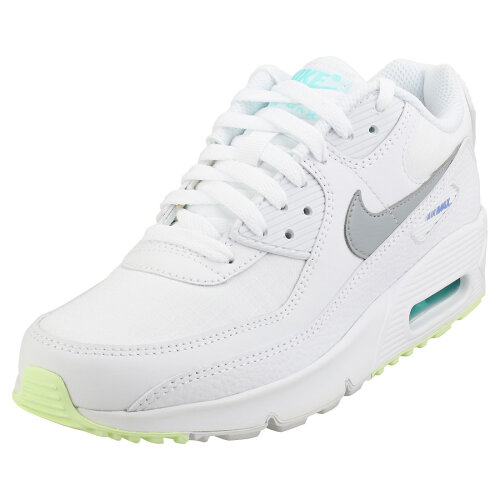 (6) Nike Air Max 90 Gs Womens Fashion Trainers in White Grey