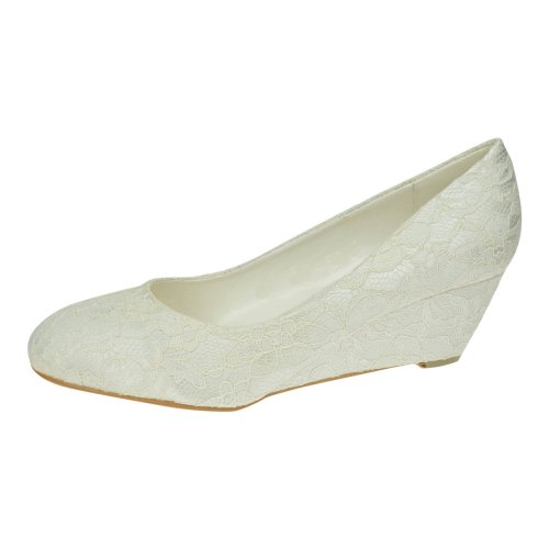Womens Ivory Lace Low Wedge Heel Bridal Bridesmaid Prom Wedding shoes