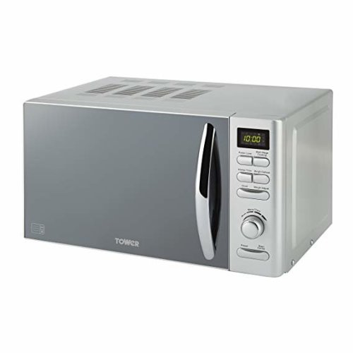 Tower T24019S Infinity Digital Solo Microwave Stylish Mirrored Door, 800 W, 20 Litre, Silver
