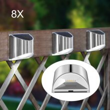 8Pc LED Solar Fence Wall Light Garden Safety Outdoor After Steps UK