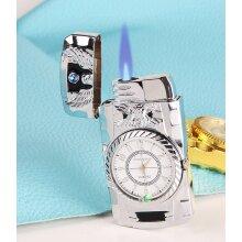 NEW Button Jet Lighter Working Clock Refillable windproof Lighter Gift