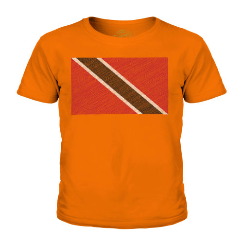 (Orange, 7-8 Years) Candymix - Trinidad And Tobago Scribble Flag - Unisex Kid's T-Shirt