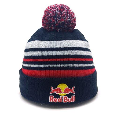 Red Bull Popom Beanie Ski Hat Red Blue Gray Stripe Men Women