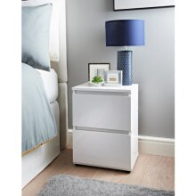 White high Gloss Norsk 2 Drawer Bedside Table Perfect For Storing Clothing and Essentials.