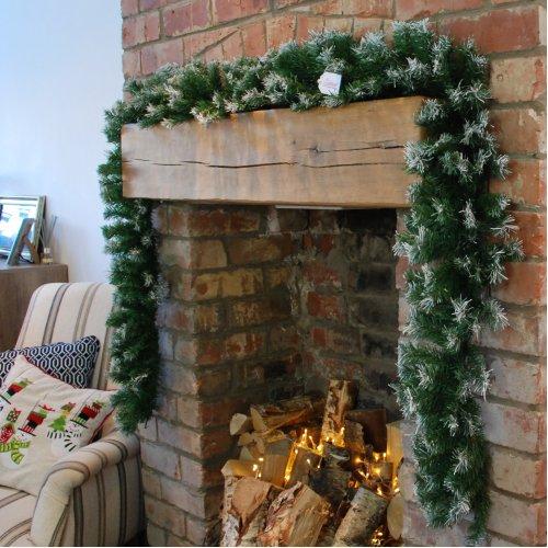 Samuel Alexander 270cm (9ft) x 25cm Snow Tipped Green Christmas Garland Decoration