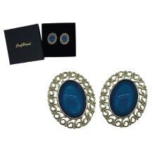 Craftuneed women retro resin gemstone oval shape stud earrings