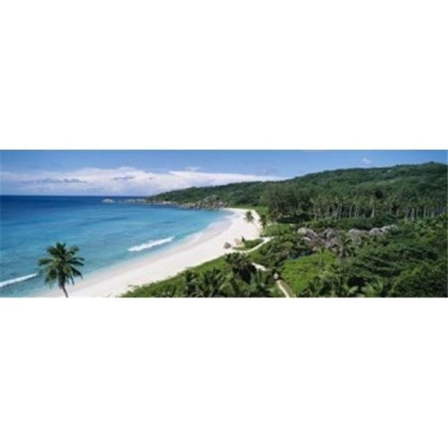 High angle view of the beach  Grand Anse Beach  La Digue Island  Seychelles Poster Print by  - 36 x 12