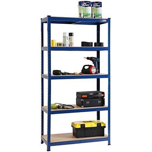 5-Tier Heavy Duty Garage Shelving | Blue Metal Storage Shelf Unit