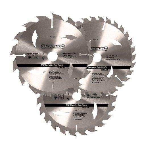 Silverline Tct Circular Saw Blades 16, 24, 30t 3pk 135 x 12.7 - 10mm Ring - 16 -  circular saw tct blades x 135 silverline 10mm ring 16 24 3pk 127