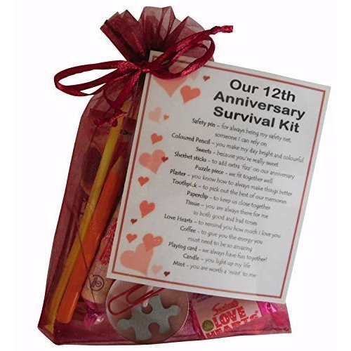 12th Anniversary Survival Kit Gift Great Novelty Present For Twelth Anniversary Or Wedding Anniversary For Boyfriend Girlfriend Husband Wife On Onbuy