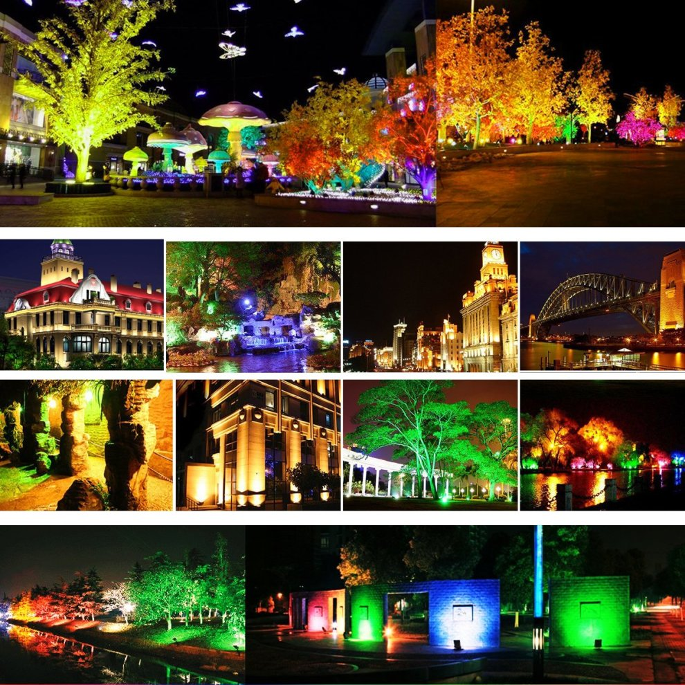 T-SUNRISE Multi Colors LED Security Light 30W RGB Floodlights 16 Colours /& 4 /&