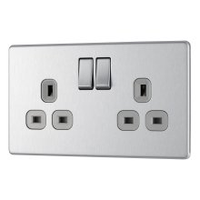 BG Electrical FBS22G-01 Screwless Flat Plate 13A 2 Gang Double Pole Switched Socket, Brushed Steel/Grey Insert, 250 V