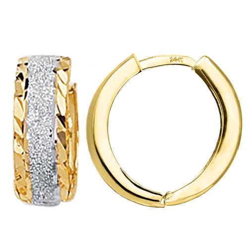 14k Two-Tone Gold Diamond-Cut Hoop Earrings, 15mm X 15mm
