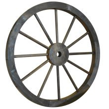 CARTWHEEL - Decorative Solid Wood Garden Wheel Ornament with Metal Rim