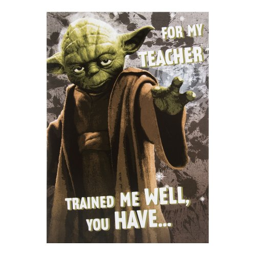 Medium Hallmark Star Wars Thank You Teacher CardYoda