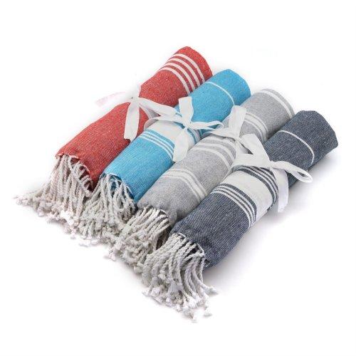 Nicola Spring Turkish Beach/Bath Hammam Peshtemal Fouta Towel. Traditional Design 100% Cotton - Set of 4