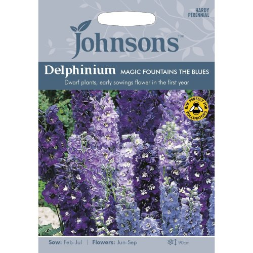 Johnsons Seeds - Pictorial Pack - Flower - Delphinium Magic Fountains - 40 Seeds