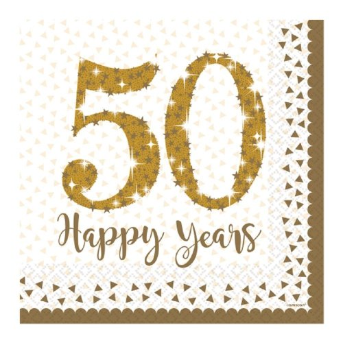 Gold 50th Anniversay Lunch Napkins - Golden Anniversary Party Wedding Paper -  golden anniversary 50th napkins party wedding paper tableware 16