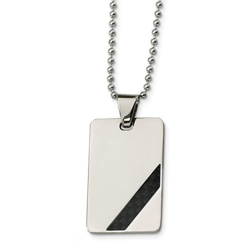 Stainless Steel Black Carbon Fiber 24in Necklace