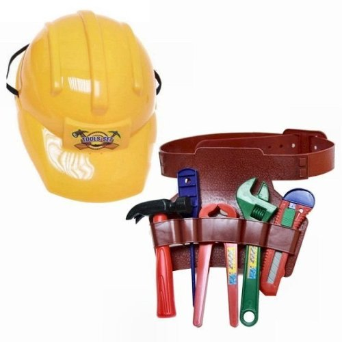Pretend Play Construction Helmet with Toolbelt and Toy Tools - Children's Toy