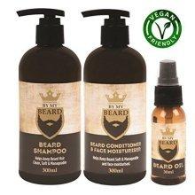 Beard Shampoo Conditioner Face Moisturiser Oil Complete Triple Pack Vegan