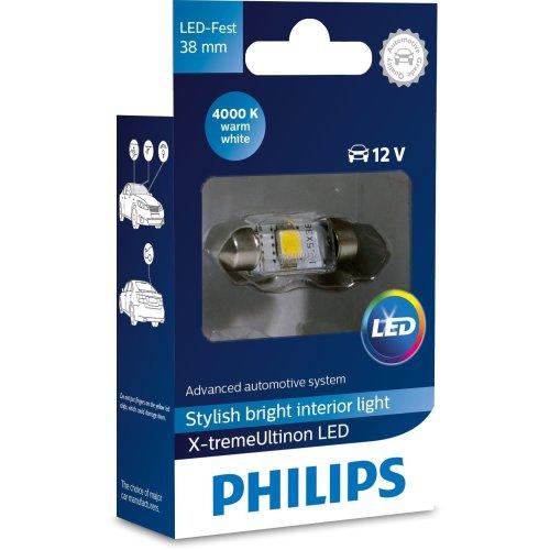 Philips 128584000KX1 X-tremeUltinon LED Interior car Light C5W 38mm Festoon 4000K 12V, 1 Piece, Warm White, 38 mm