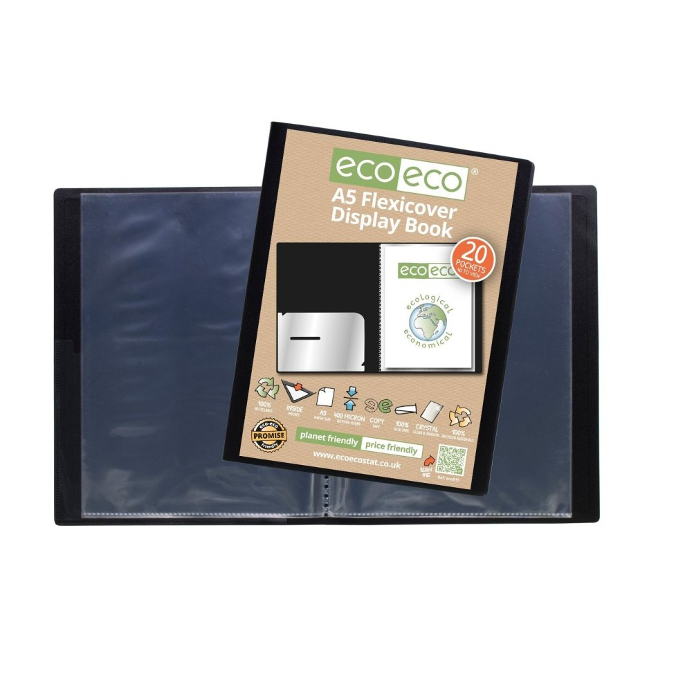 eco-eco A4 100/% Recycled 40 Pocket 80 View Black Flexicover Display Book