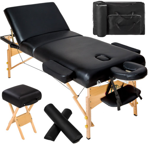 Massage Table 3 Zone 10 Cm Padding Rolls Stool Bag Black On