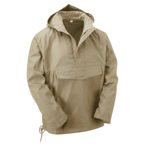 (Beige, L) New Latest Style Hooded Anorak Smock Jacket