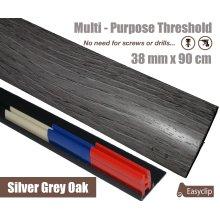 Silver Grey Multi Purpose Threshold Strip 38x90cm Adhesive Clip System