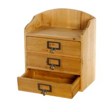 3 Drawers Rustic Wood Storage Organizer Desktop Cabinet Home Office