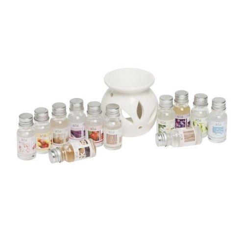 White Ceramic Oil Burner DiffuserâWith 12 Asst 10Ml Fragrance Oils Gift Set