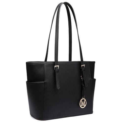 (Black 1642) Miss Lulu Women's Adjustable PU Leather Shoulder Bag