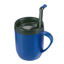 Zyliss Cafetiere Hot Mug - Blue - Cup Coffee Smart One Lid Splash Double Walled -  zyliss cafetiere mug hot blue cup coffee smart one lid splash