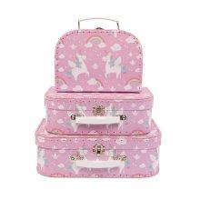 Set of 3 Decorative Rainbow Unicorn Storage Suitcases