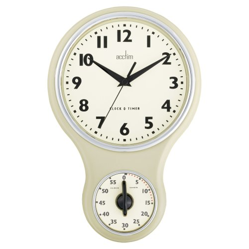 Acctim 21592 Kitchen Time Wall Clock, Cream