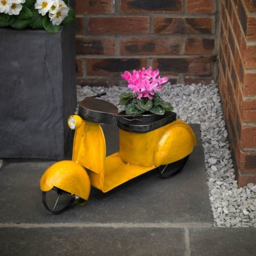 Craftsman Large Metal Moped Garden Flower Planter Indoors or Outdoors
