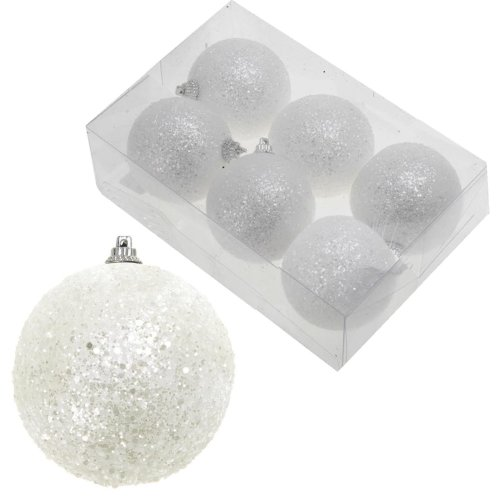 White Snowball Baubles Christmas Tree Hanging Decoration - 6 Pack 50mm