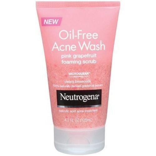 Neutrogena OilFree Acne Wash Pink Grapefruit Foaming Scrub4.2 oz (Quantity of 4)