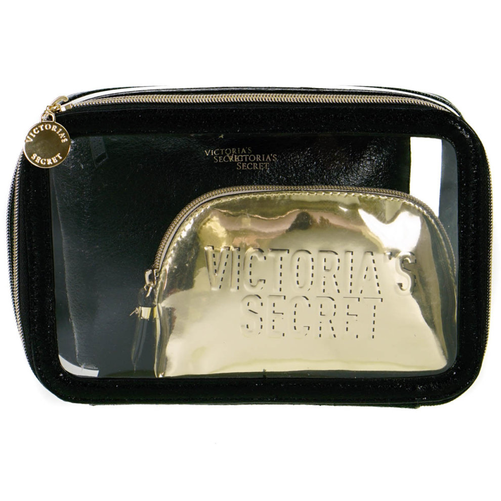 Victoria's Secret Black and Gold Cosmetic Bag 3 Piece Set