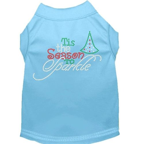 Mirage Pet 52-102 BBLMD Tis the Season to Sparkle Rhinestone Dog Shirt, Baby Blue - Medium 12