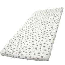 2x Space Saver Cot Fitted Sheets 100% Cotton 100cm x 52cm - Grey Stars