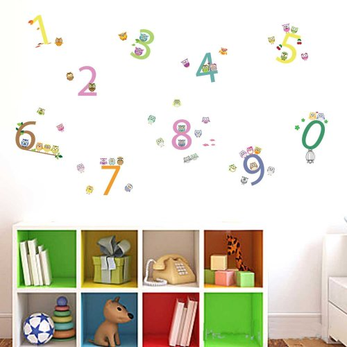 Walplus Number Wall Stickers - Office Home Decoration, 45pcs 11.5cm x 2cm, PVC, Removable,Transparent Borders, Self-Adhesive, Multi-Color