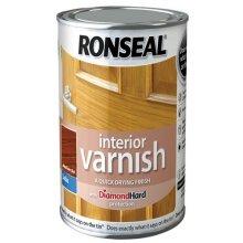 Ronseal RSLIVSMO250 250ml Quick Dry Satin Interior Varnish - Medium Oak